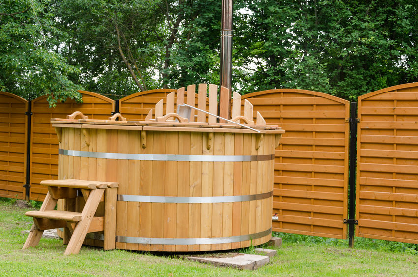 28136990 - modern new wooden water spa hot tub with stairs outdoor